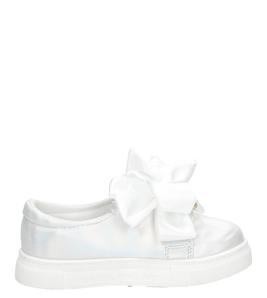Białe półbuty slip on z kokardą i perełkami błyszczące Casu 8928B model 8928B