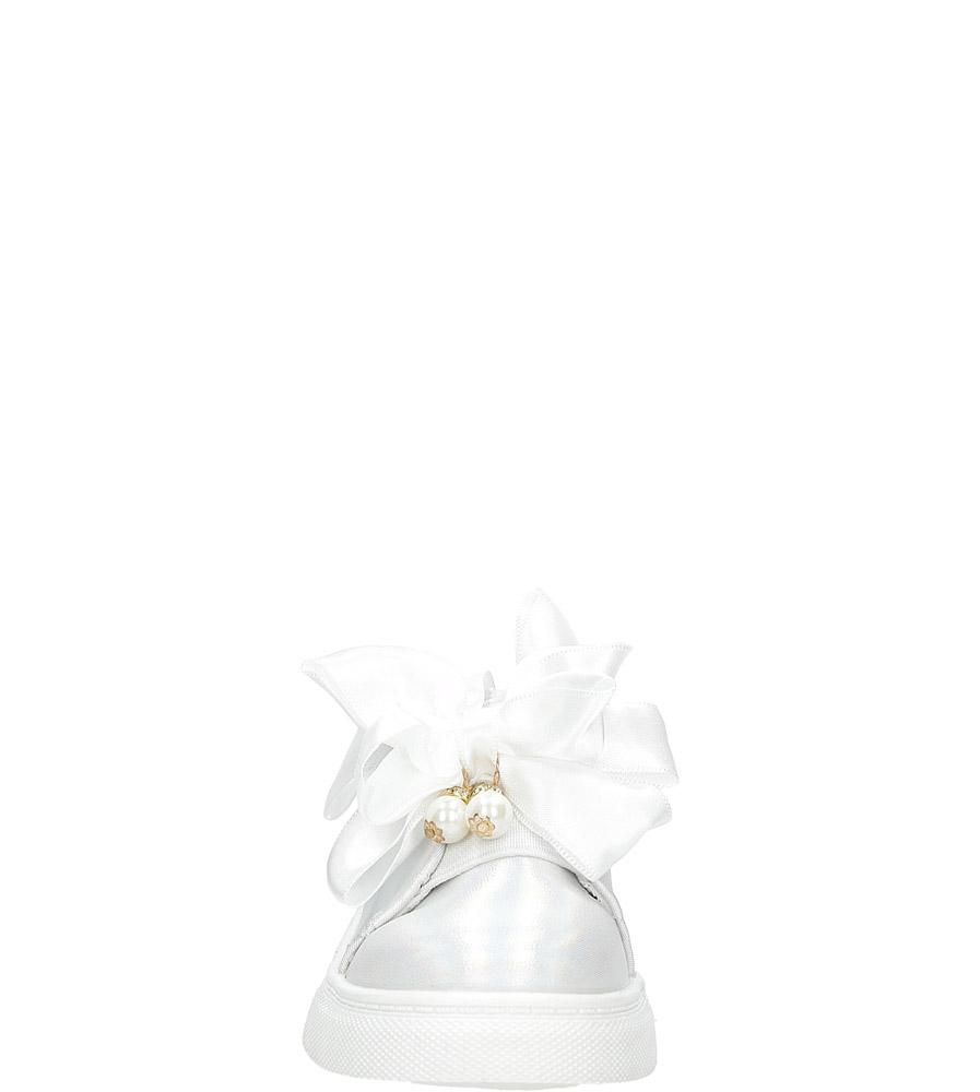 Białe półbuty slip on z kokardą i perełkami błyszczące Casu 8928B sezon Całoroczny