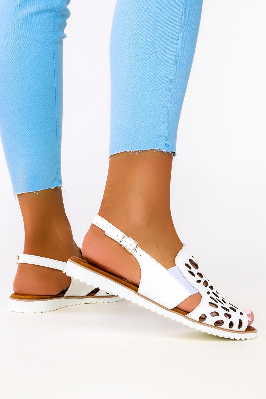 Białe sandały ażurowe płaskie polska skóra Casu 3021-0