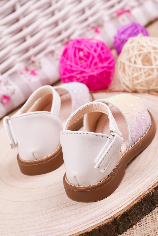 Białe sandały brokatowe na rzep z zakrytą piętą Casu 1051-2