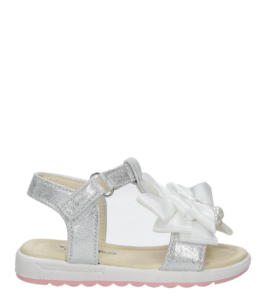 Białe sandały na rzep z kokardą i perełkami Casu 8913B