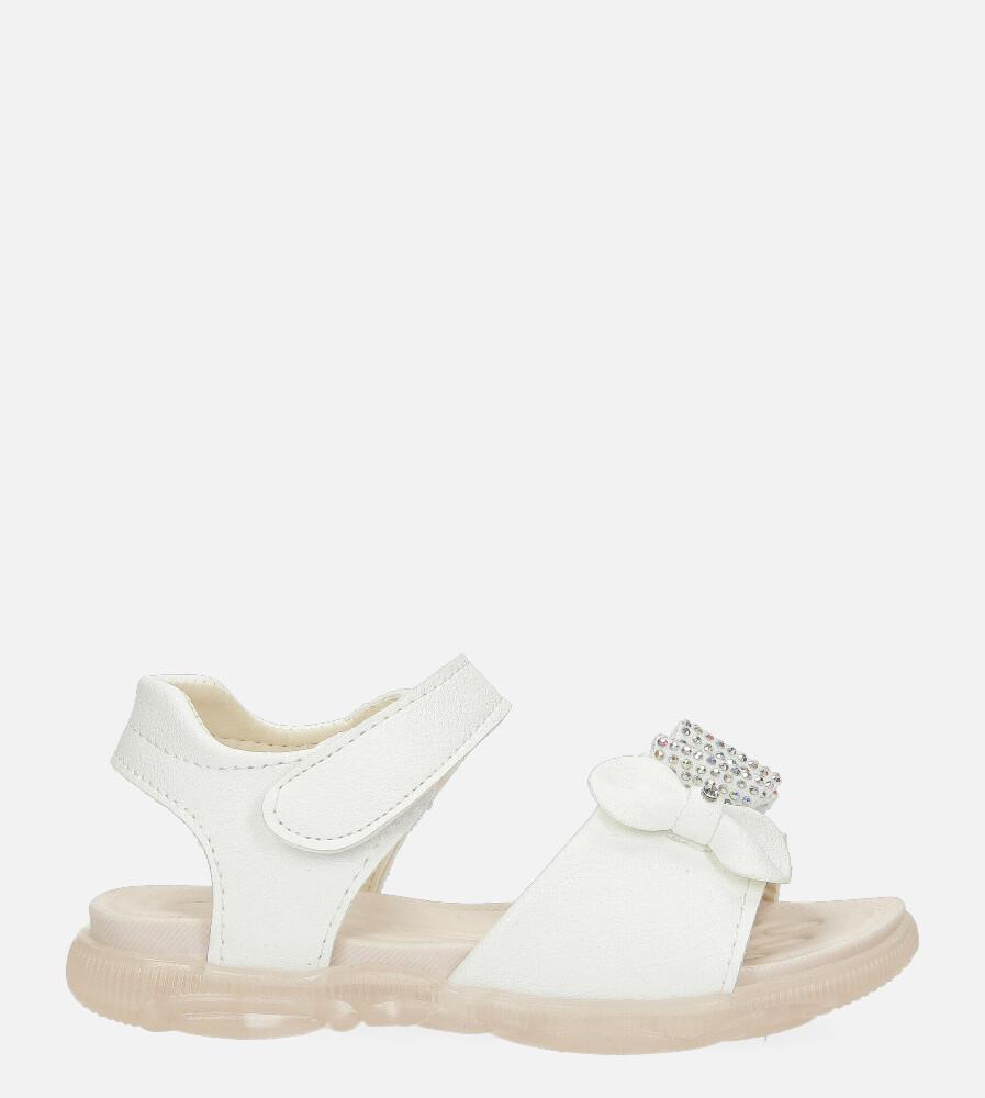 Białe sandały na rzep z kokardką i cyrkoniami Casu 20U6/M