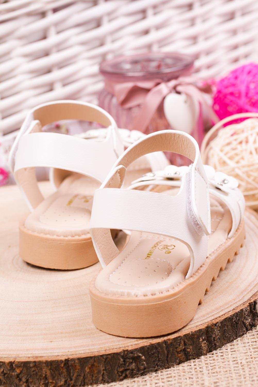 Białe sandały na rzep z ozdobami Casu HY-13 biały