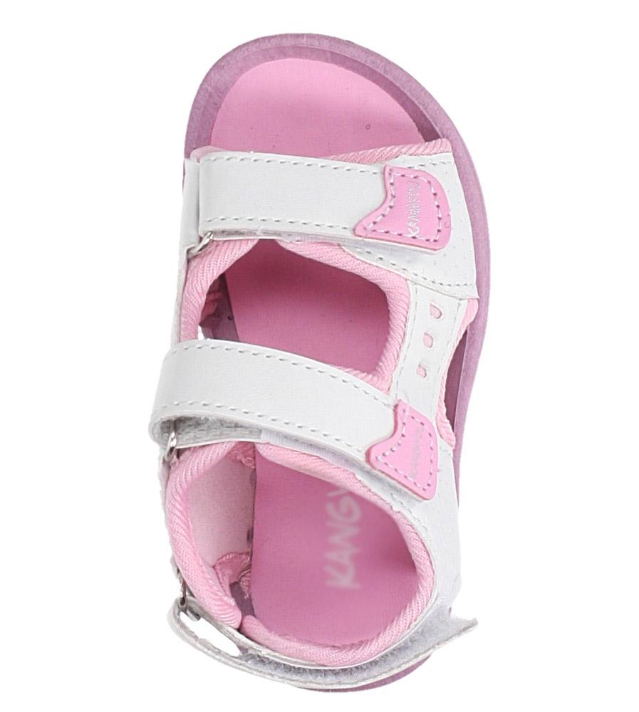 Białe sandały na rzepy  Casu 90 kolor biały, różowy