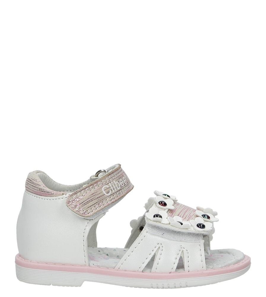Białe sandały na rzepy z kwiatkami Casu F-250 biały