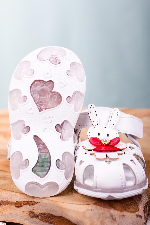 Białe sandały niemowlęce niechodki na rzep z króliczkami Casu X806A biały
