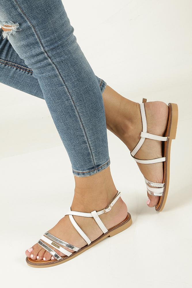 Białe sandały płaskie Casu 7198-PL