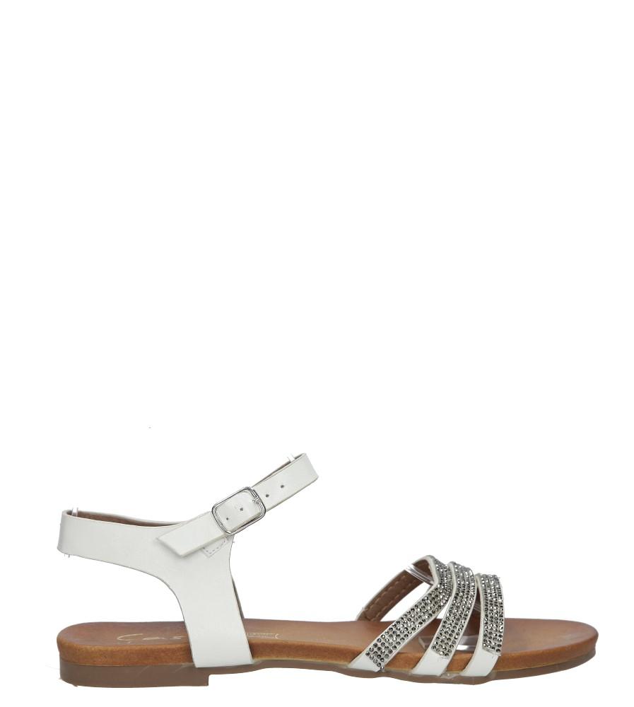 Białe sandały płaskie zdobione kryształkami Casu K18X5/W kolor biały