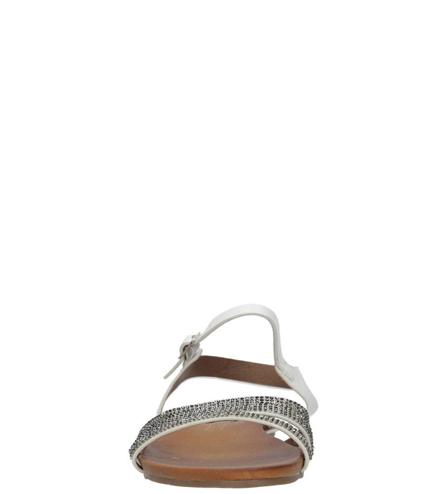 Białe sandały płaskie zdobione kryształkami Casu K18X5/W wysokosc_platformy 1 cm