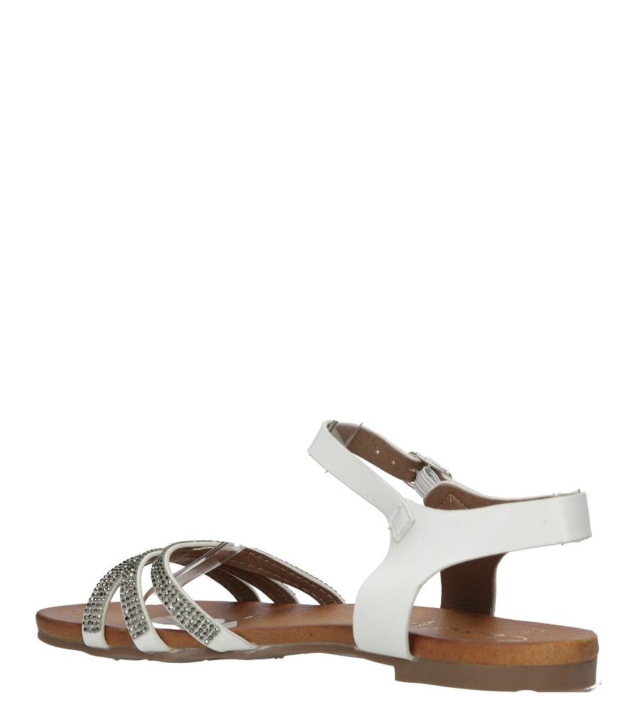 Białe sandały płaskie zdobione kryształkami Casu K18X5/W wierzch skóra ekologiczna