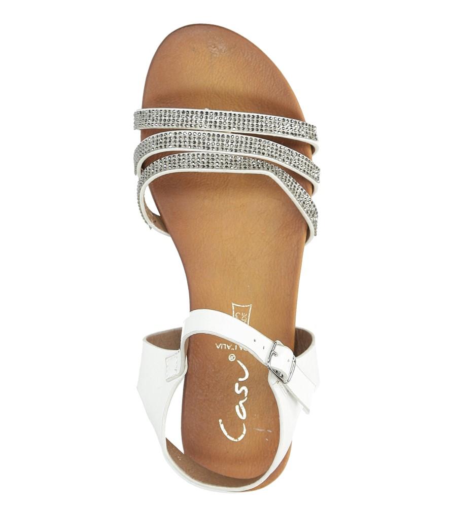 Białe sandały płaskie zdobione kryształkami Casu K18X5/W wkladka skóra ekologiczna