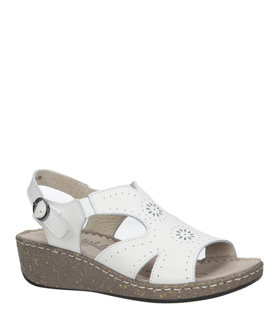 Białe sandały skórzane ażurowe na koturnie Casu DS057/18WH biały