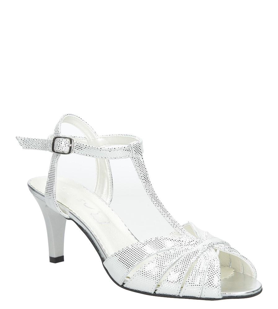 Białe sandały skórzane t-bar Casu 323 producent Casu