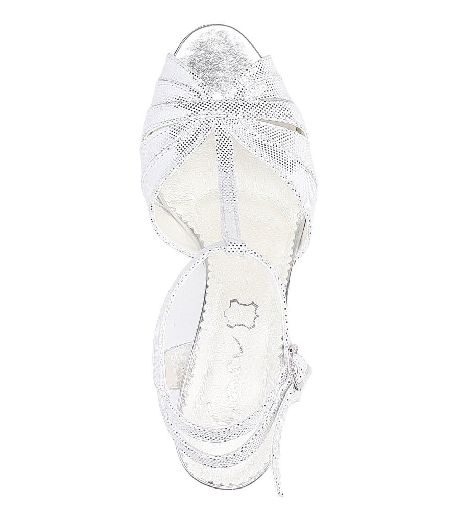 Białe sandały skórzane t-bar Casu 323 kolor biały