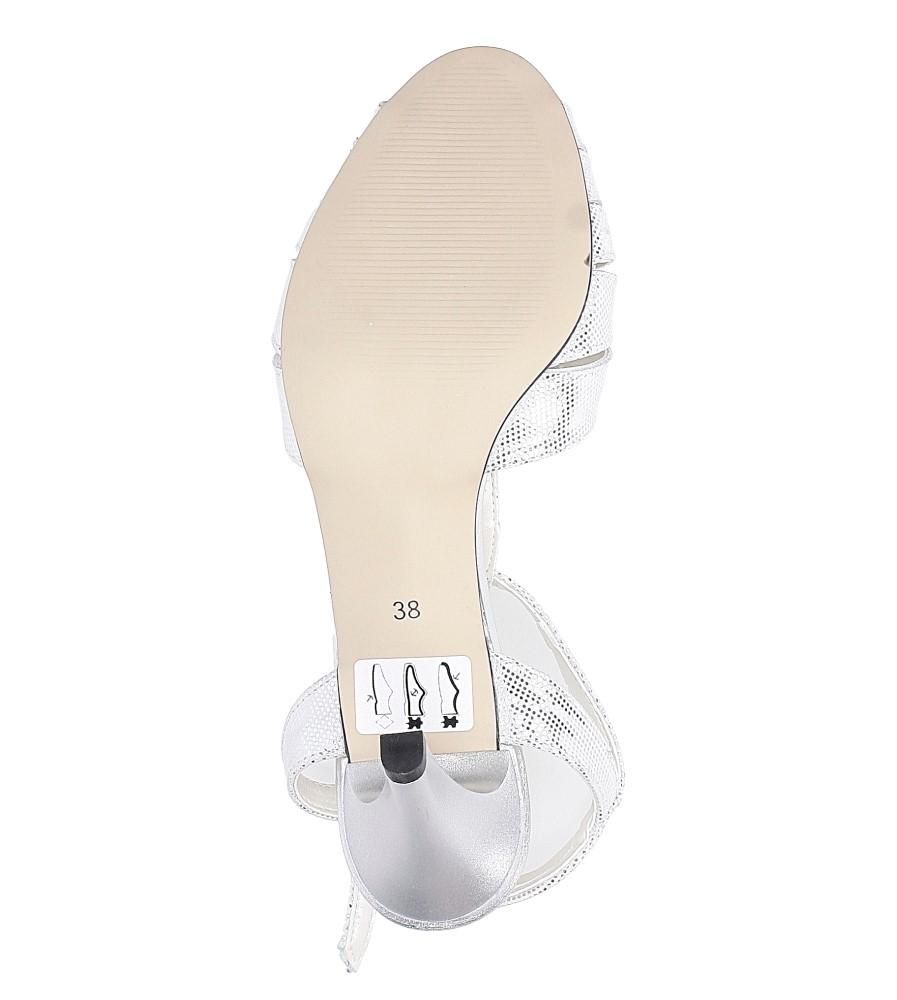 Białe sandały skórzane t-bar Casu 323 wysokosc_obcasa 8 cm