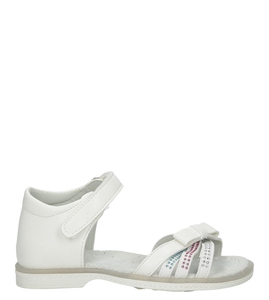 Białe sandały z kokardą i cyrkoniami na rzep Casu Z-308