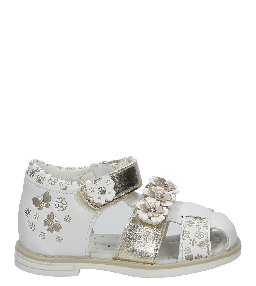 Białe sandały z kwiatkami na rzep Casu Z-290 biały