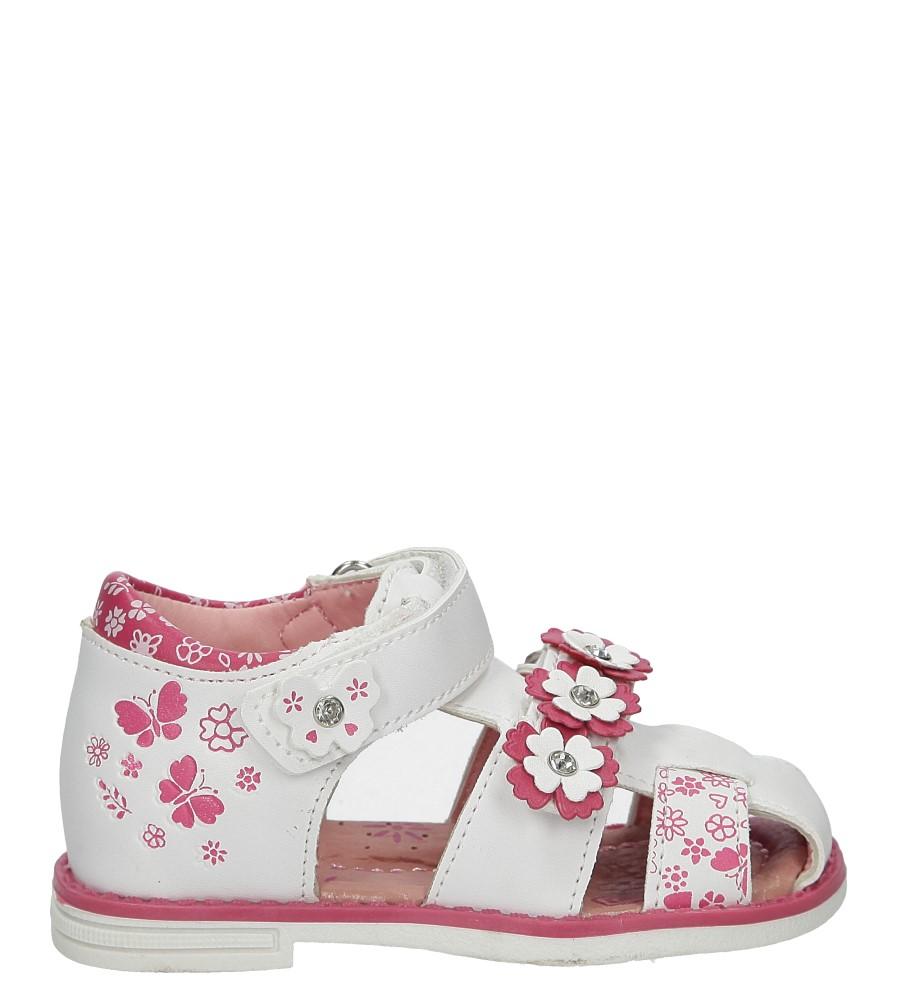 Białe sandały z kwiatkami na rzep Casu Z-290