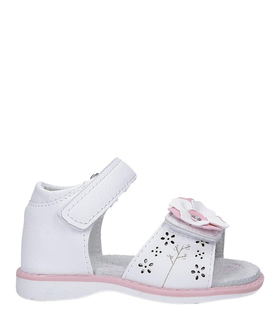 Białe sandały z kwiatkiem na rzep Casu LA105