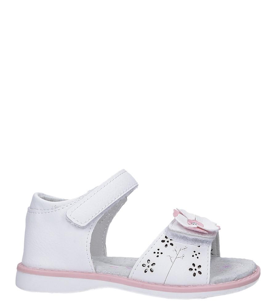 Białe sandały z kwiatkiem na rzep Casu LA106