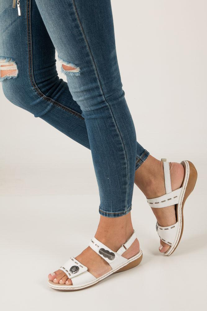 Białe sandały z ozdobami Rieker 65972-81