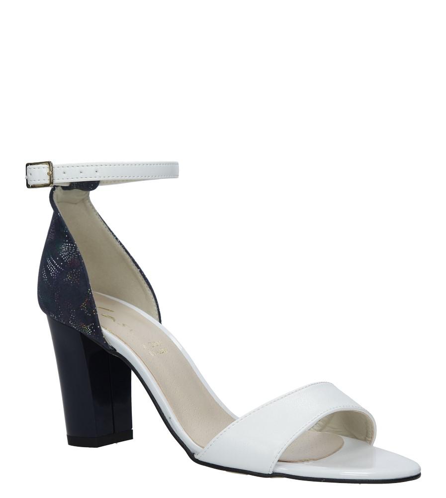 Białe sandały z paskiem wokół kostki na słupku Casu 3093