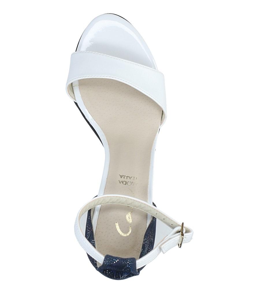 2ca6ed9cce6b ... Białe sandały z paskiem wokół kostki na słupku Casu 3093  wysokosc obcasa 8 cm ...