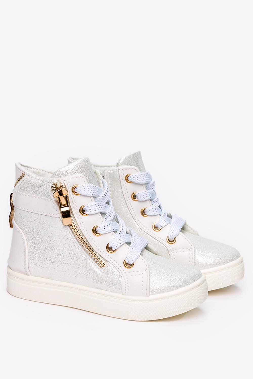Białe sneakersy Casu błyszczące z ozdobnym zamkiem DD403 biały