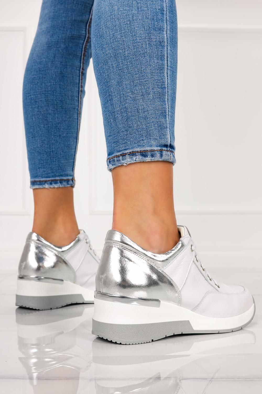 Białe sneakersy Casu buty sportowe sznurowane na koturnie polska skóra 420 biały