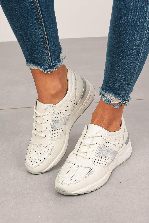 Białe sneakersy Filippo buty sportowe skórzane sznurowane DP736/20WH biały