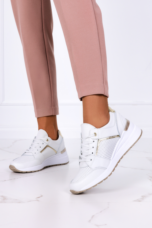 Białe sneakersy Filippo buty sportowe sznurowane skórzane DP2003/21WH biały