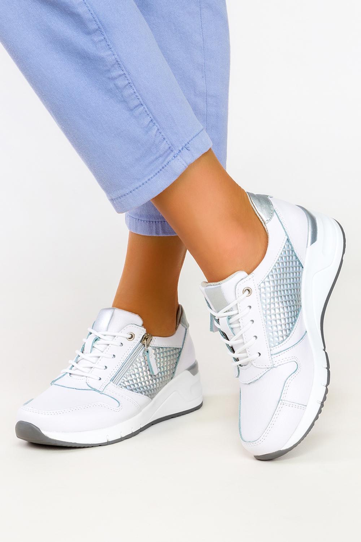 Białe sneakersy Filippo skórzane buty sportowe sznurowane z ozdobnym suwakiem DP2052/21WN