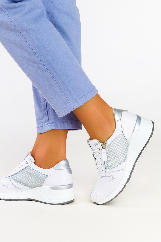Białe sneakersy Filippo skórzane buty sportowe sznurowane z ozdobnym suwakiem DP2052/21WN biały