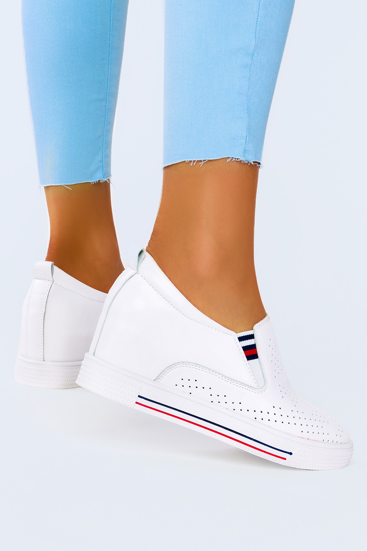 Białe sneakersy Filippo skórzane półbuty ażurowe na ukrytym koturnie DP1356/21WH biały