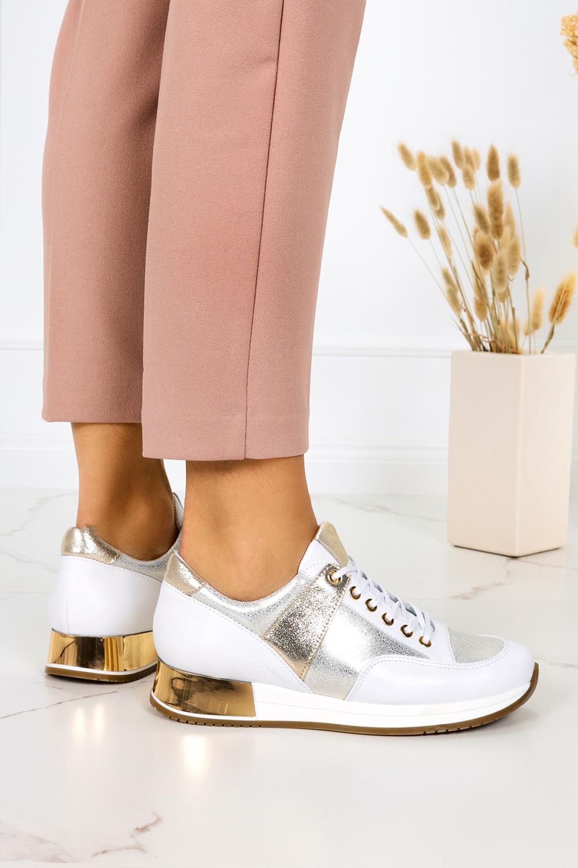 Białe sneakersy Kati buty sportowe sznurowane polska skóra 7003/B179 biały