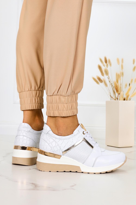 Białe sneakersy Kati buty sportowe sznurowane polska skóra 7049