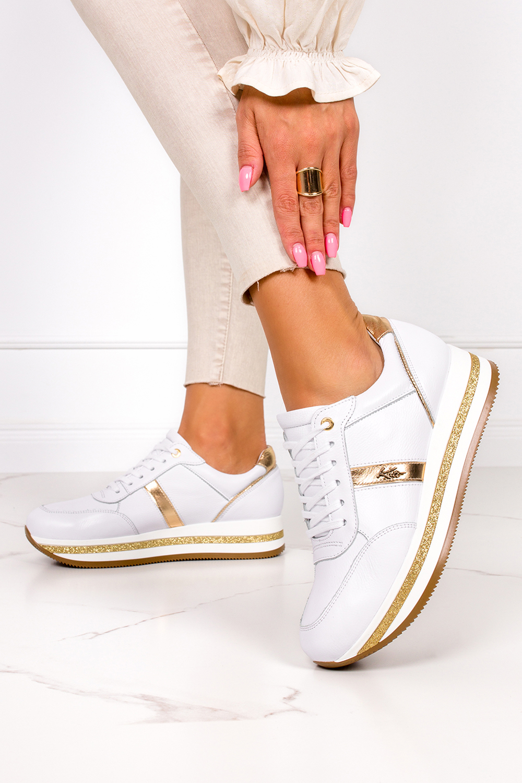 Białe sneakersy Kati buty sportowe sznurowane polska skóra 7090 biały