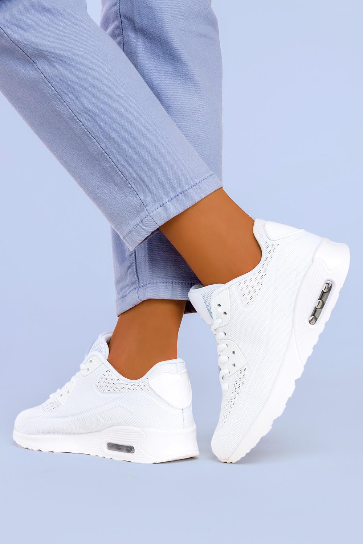 Białe sneakersy na koturnie buty sportowe sznurowane Casu B3363-5 biały