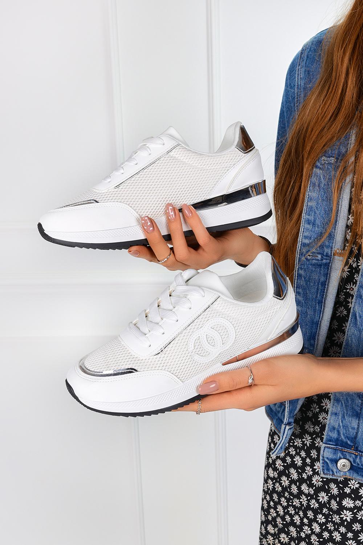 Białe sneakersy na koturnie buty sportowe sznurowane Casu LA160P biały