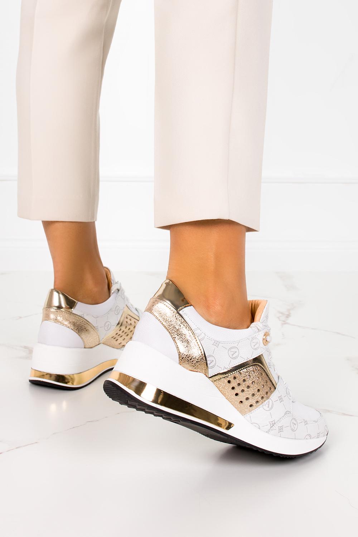 Białe sneakersy na koturnie buty sportowe sznurowane polska skóra Casu 07862/2055/2049/1881/1484 biały