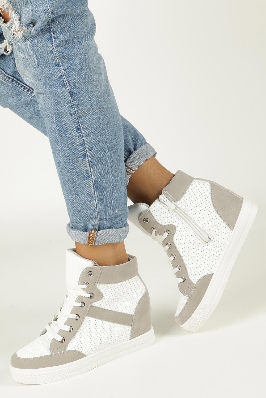 Białe sneakersy na koturnie sznurowane Casu MY556N-26-9
