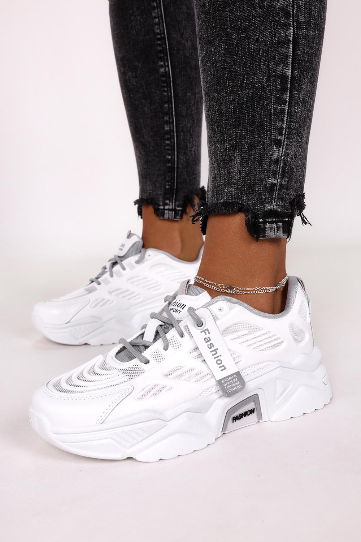 Białe sneakersy na platformie buty sportowe sznurowane Casu 21F1/WGY biały