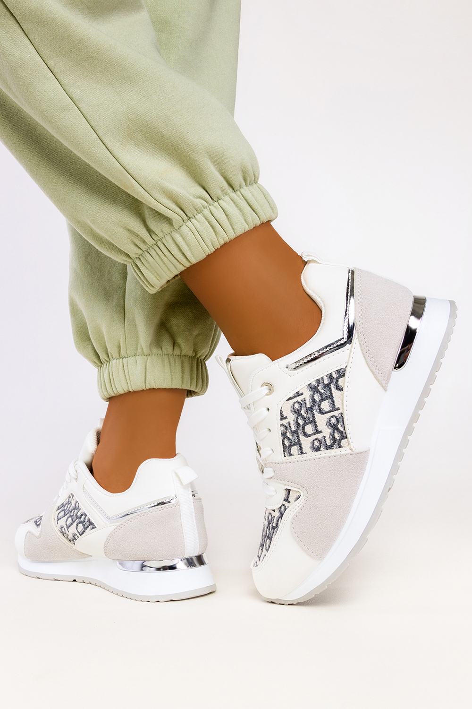 Białe sneakersy na platformie buty sportowe sznurowane Casu 7-K2138C