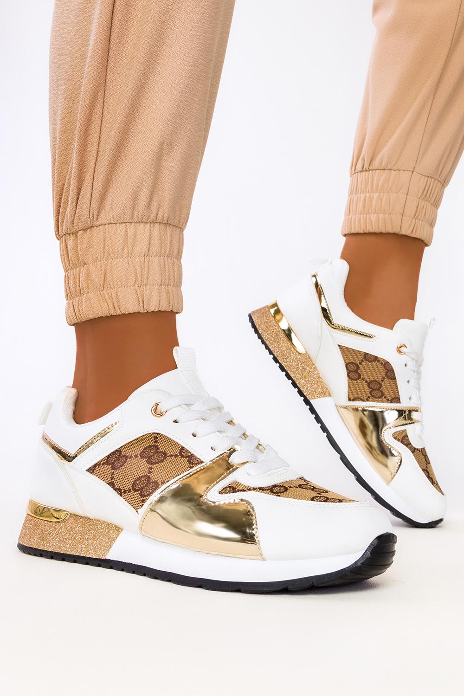 Białe sneakersy na platformie buty sportowe sznurowane Casu 8211-2 biały