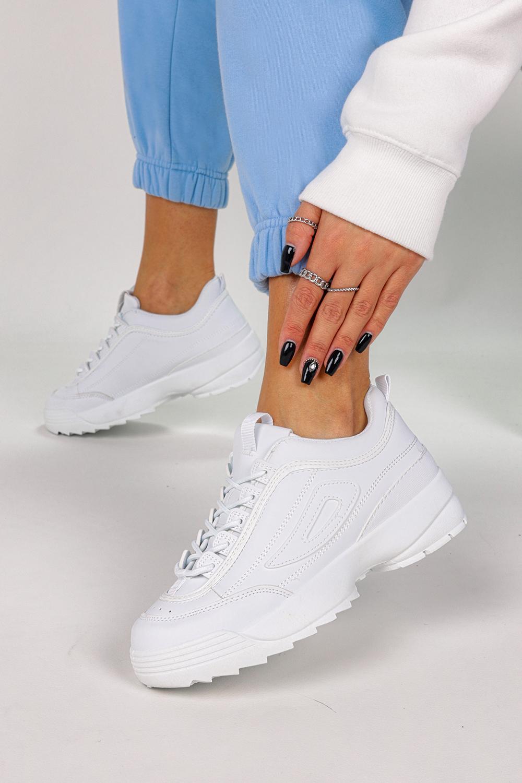 Białe sneakersy na platformie buty sportowe sznurowane Casu B-02
