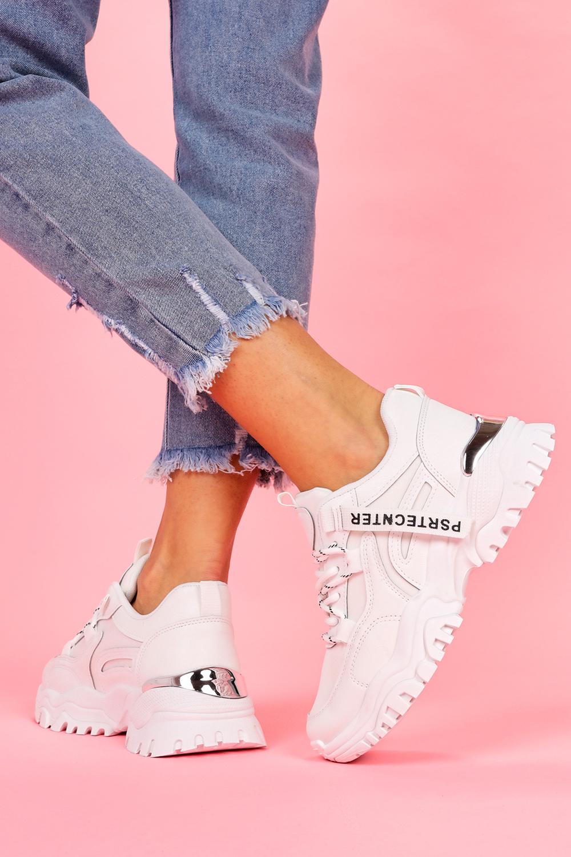 Białe sneakersy na platformie buty sportowe sznurowane Casu BL211P biały