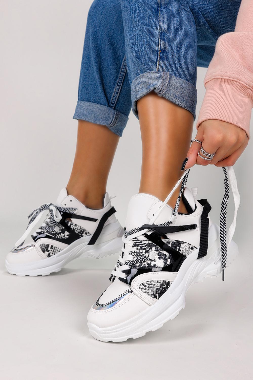 Białe sneakersy na platformie buty sportowe sznurowane Casu LC9703-2