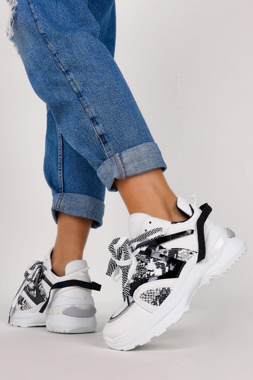 Białe sneakersy na platformie buty sportowe sznurowane Casu LC9703-2 biały