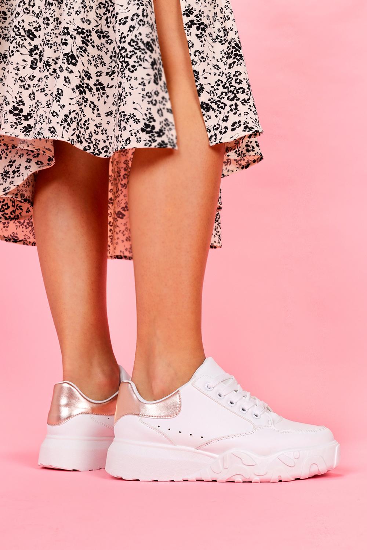 Białe sneakersy na platformie buty sportowe sznurowane Casu VL124P/Z biały