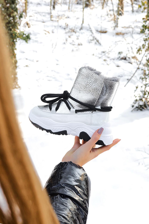 Białe śniegowce HIT na platformie z futerkiem Casu 20218 biały
